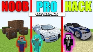 Minecraft Battle : CAR CRAFTING CHALLENGE - NOOB vs PRO vs HACKER Minecraft Animation