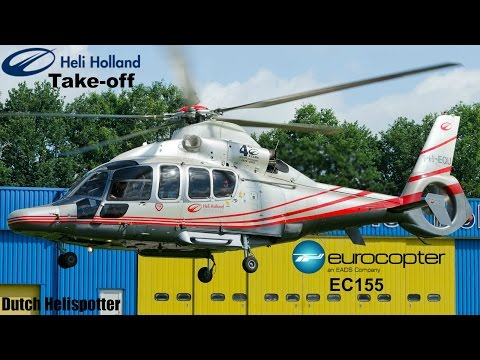 Heli Holland offshore Eurocopter EC155 (PH-EQU) Take-off from heliport Emmen