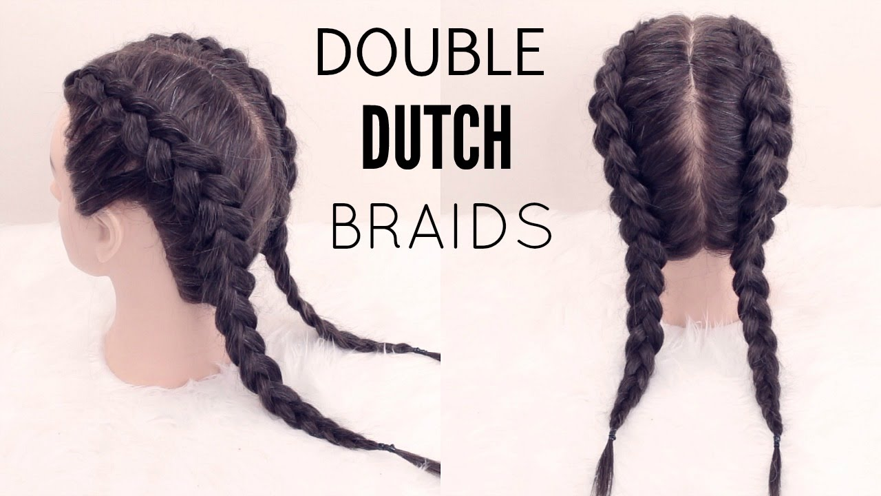 How To Double Dutch Braid Hair Tutorial Youtube