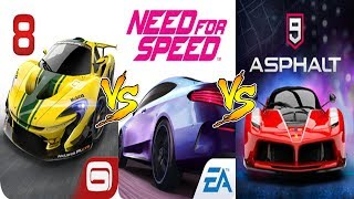 ASPHALT 8  VS  NFS NO LIMITS  VS  ASPHALT 9  Gameplay Comparison