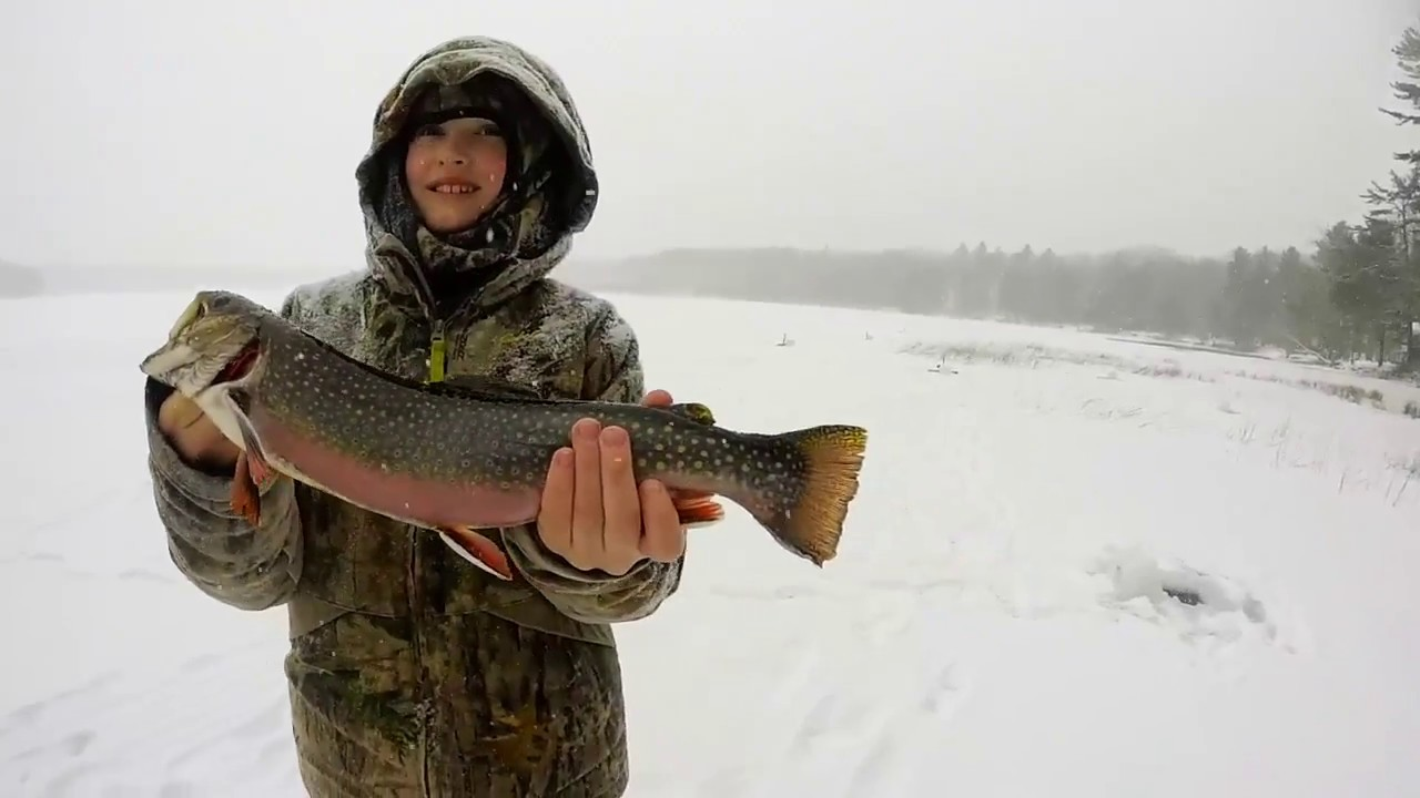 Ice fishing maine for brook trout youtube for Ice fishing maine