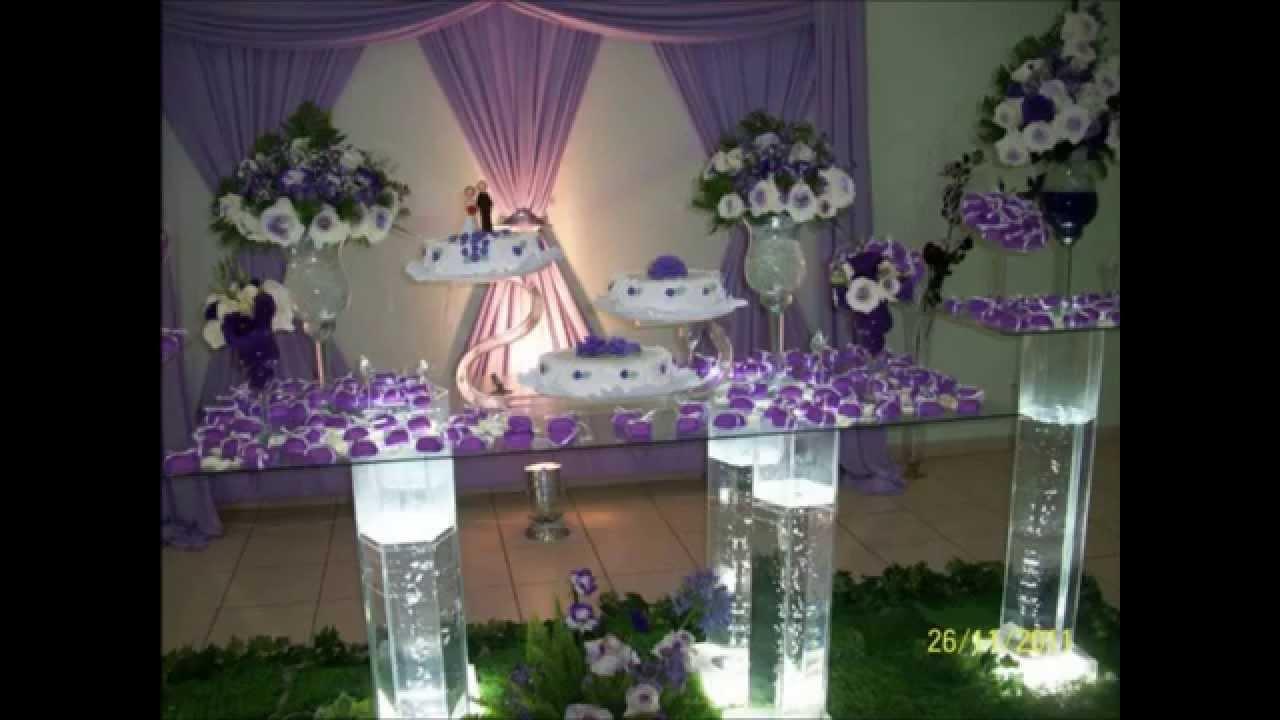 decoraçao de casamento branco e lilas  YouTube