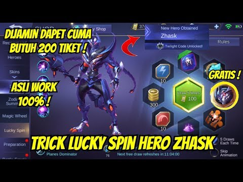 TRICK LUCKY SPIN HERO ZHASK MOBILE LEGENDS !