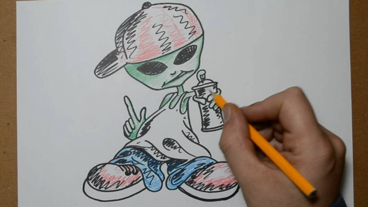 How To Draw A Graffiti Character Alien Youtube