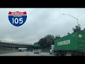 watch he video of Driving on Freeway 105 West towards Los Angeles International Airport (LAX) on a rainy day