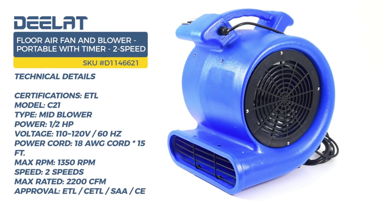 Floor Air Fan And Blower   Portable With Timer   2 Speed