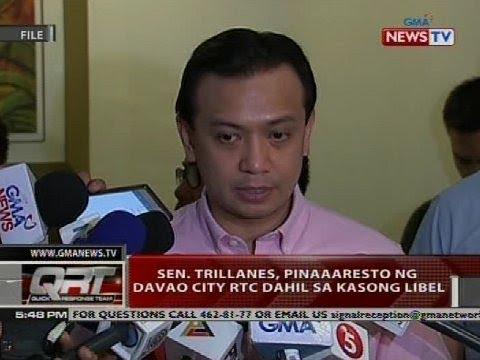 Sen. Trillanes, pinaaaresto ng Davao City RTC dahil sa kasong libel