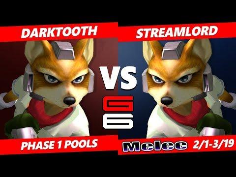 Genesis 6 SSBM - Darktooth (Fox) VS StreamLord (Fox) Smash Melee Pools