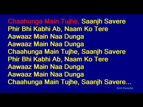 Chaahunga Main Tujhe Mohammed Rafi Hindi Full Karaoke With Lyrics