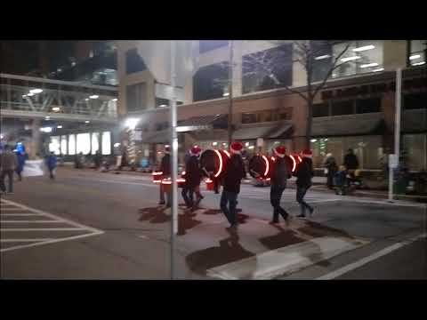 CRescendo Percussion Ensemble at the 2017 Holiday DeLight Parade in Cedar Rapids, IA