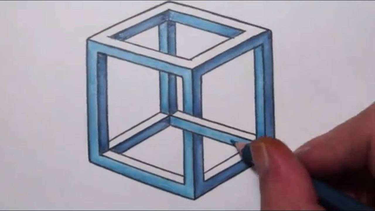illusion impossible optical cube illusions draw drawings drawing 3d triangle paper easy escher isometric cool cubes square op grid shapes