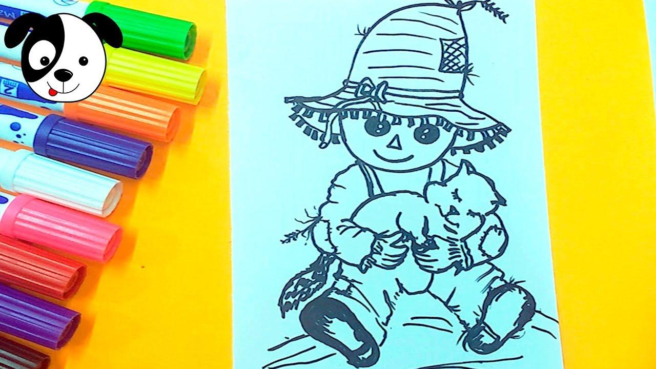 Como dibujar espantapajaros para niños/drawing scarecrow for ...