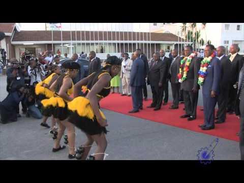 Vice President Emmerson Mnangagwa welcomes Equatorial Guinea President Teodoro Obiang Nguema Mbasogo