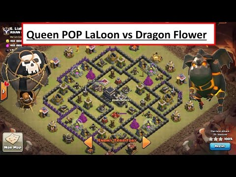 Queen POP LaLoon vs Dragon Flower build. 3 STAR TH9. Fresh Attack. Clash of Clans