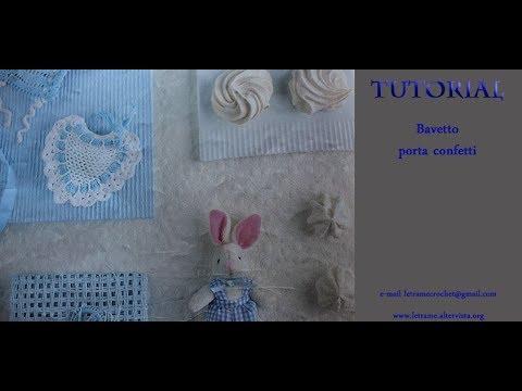 Tuotial Bomboniere Uncinetto Bavaglino Nascita Elegante 11 Youtube