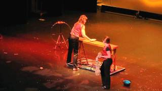 becky blaney performs ladder levitation