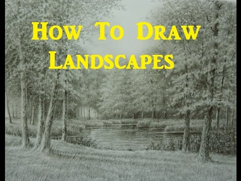 How To Draw Landscapes, Trees, Grass, Foliage, Water, Using Graphite pencils