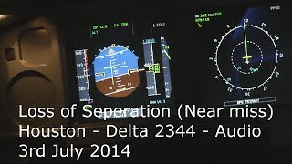 Loss of separation (Near Miss) Audio Delta flight 2344 Houston KIAH 3 July 2014