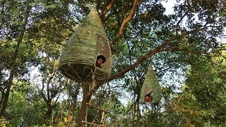 Building Bamboo Nest HouseTree House By ancient skills