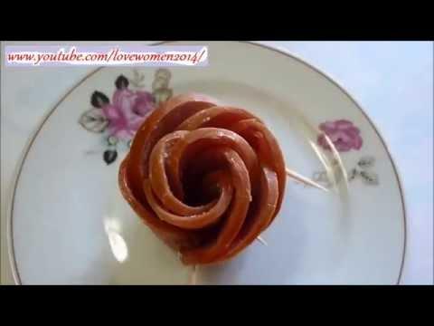 Украшения стола онлайн. Роза из колбасы.  Цветок из колбасы онлайн.