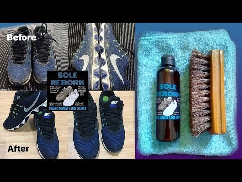 Sole Reborn Organic Shoe Cleaner using toothbrush and cloth!