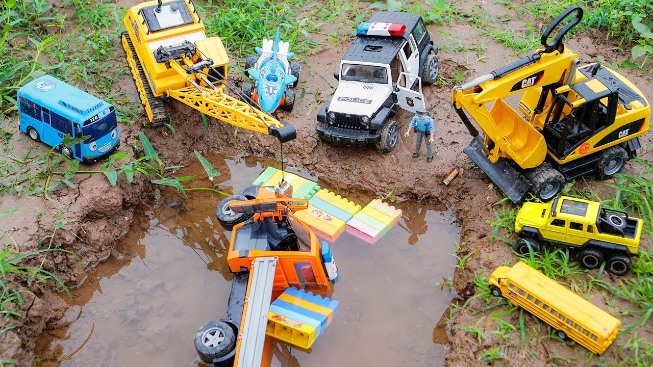 Police Car, Construction Vehicles Crane, Excavator Rescue Cars Truck Toys for Children Cars and Toys