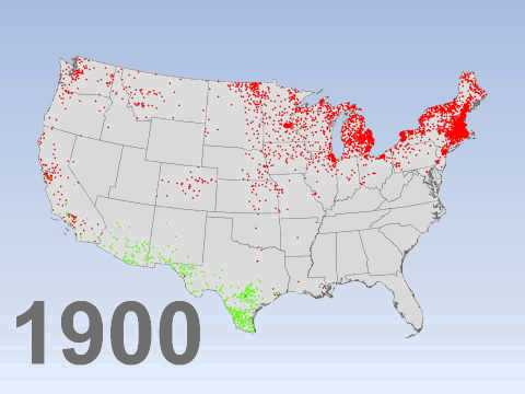 Canadian- and Mexican-born residents in the US, 1870-2000