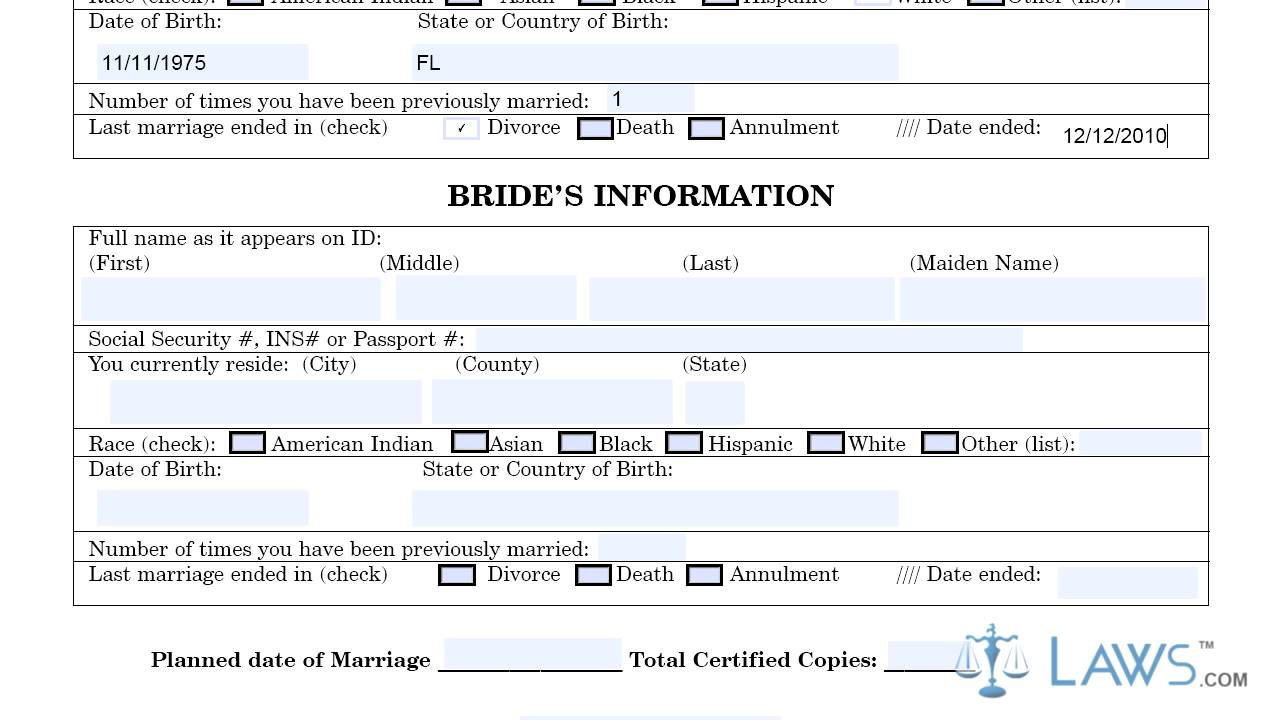 Instruction to fill florida marriage license information sheet instruction to fill florida marriage license information sheet aiddatafo Images