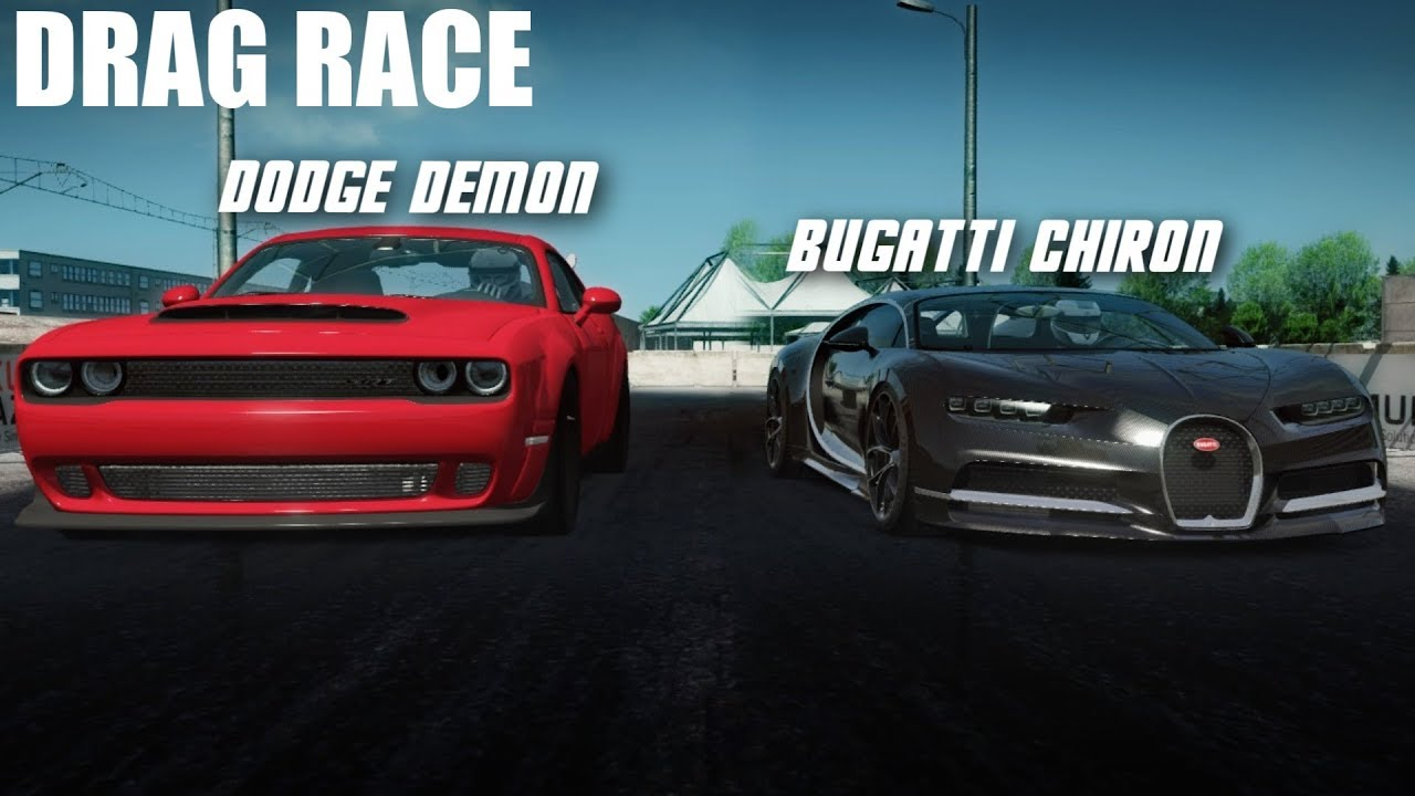 2018 Charger Demon >> BUGATTI CHIRON VS 2018 DODGE DEMON DRAG RACE | ASSETTO CORSA - YouTube