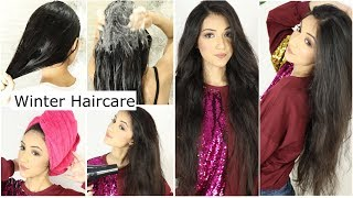 WINTER HAIR CARE ROUTINE No Dry Hair No Ruff Hair This Winter Only Smooth Silky And Shiny Hair