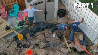 Building the Backyard KOI POND!!