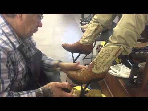 Ostrich Tan Boot Shine by Ernie's Shoe Shine Parlor.  San Angelo Tx. ASMR