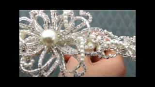 Crystal & Pearl Beaded Flower Headband Tiara by Hair Comes the Bride