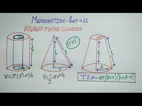 Cylinder cone and frustrum in Hindi of mensuration part 11 for ssc bank railway etc competitive exam