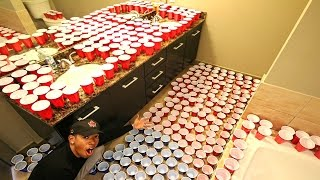 bathroom prank on girlfriend 2 000 cups