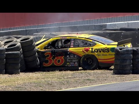 Gilliland slams the tires in Turn 10