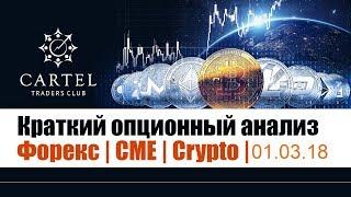 ▶ Краткий опционный анализ  Форекс | CME | Crypto |🎁 Польза трейдерам / 01.03.2018