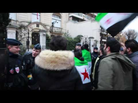 Paris, France, Syrians protester in front of the Iranian Embassy in Paris  17/12/2016