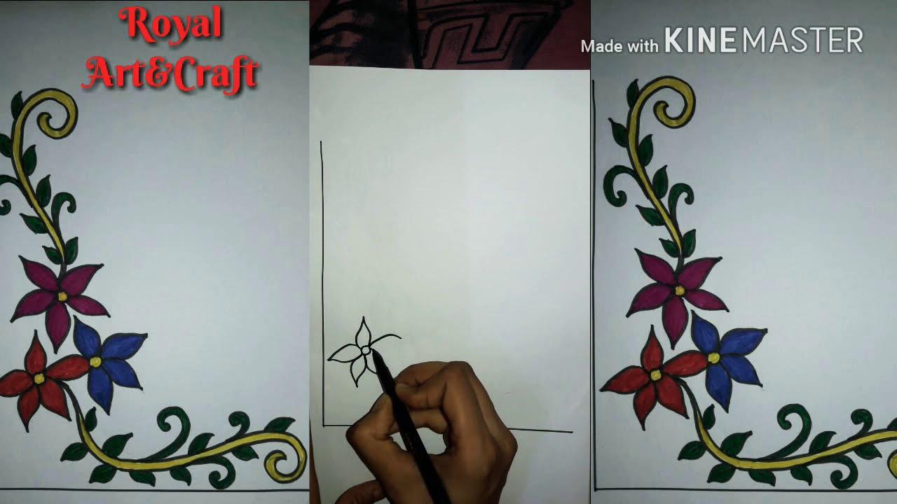 Floral Design Easy To Make Corner Design For Project Work Project Work Corner Art Design 31