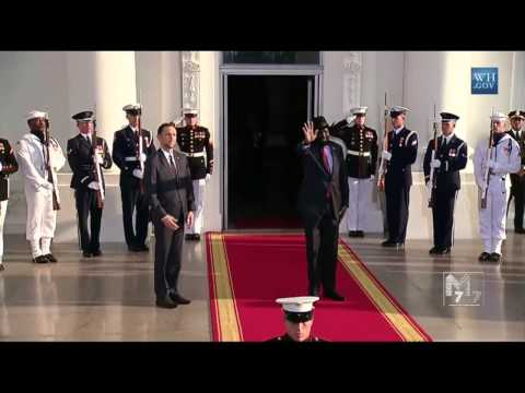 South Sudan president Salva Kiir Mayardit arrives at the White House Diner
