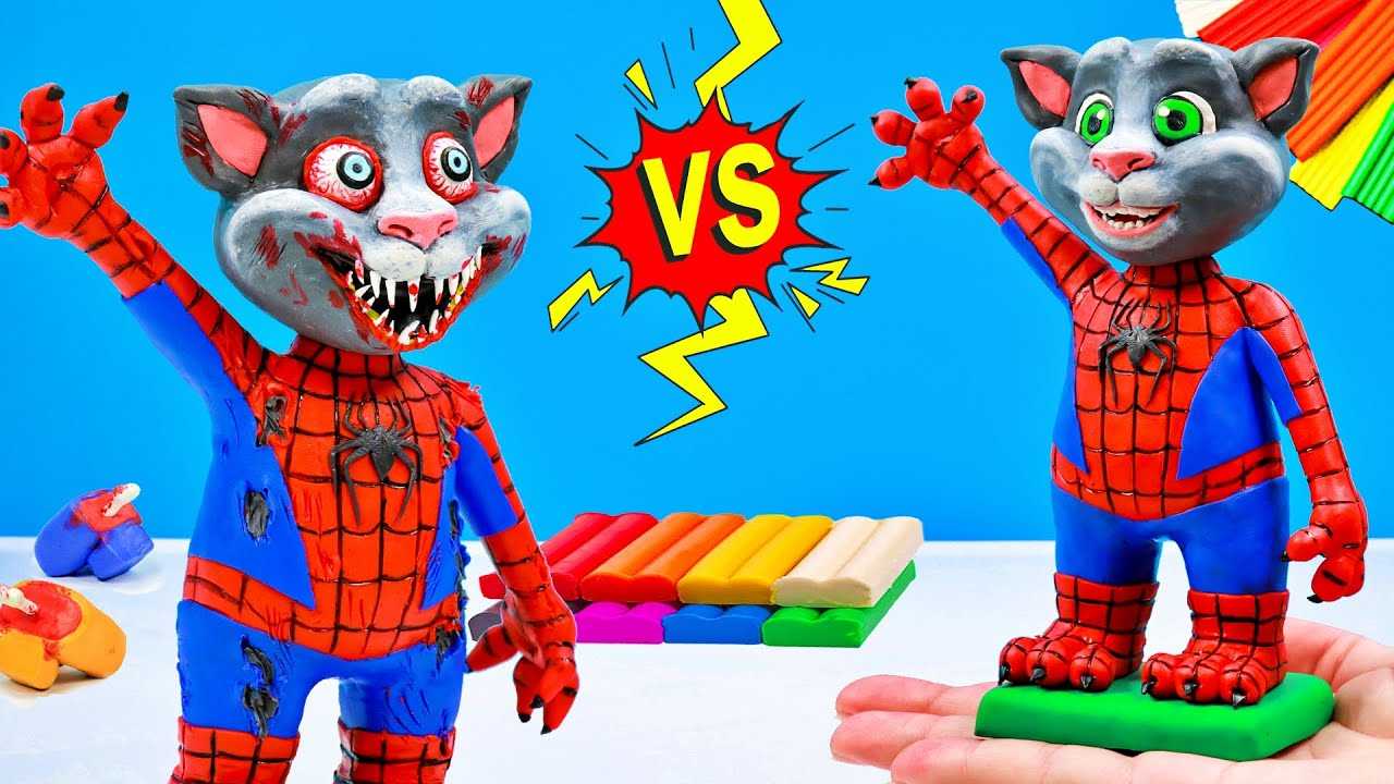 Talking Tom mod Spiderman Zombie with clay 🦸♂️️ Superheroes Marvel 🦸♂️️ Polymer Clay Tutorial