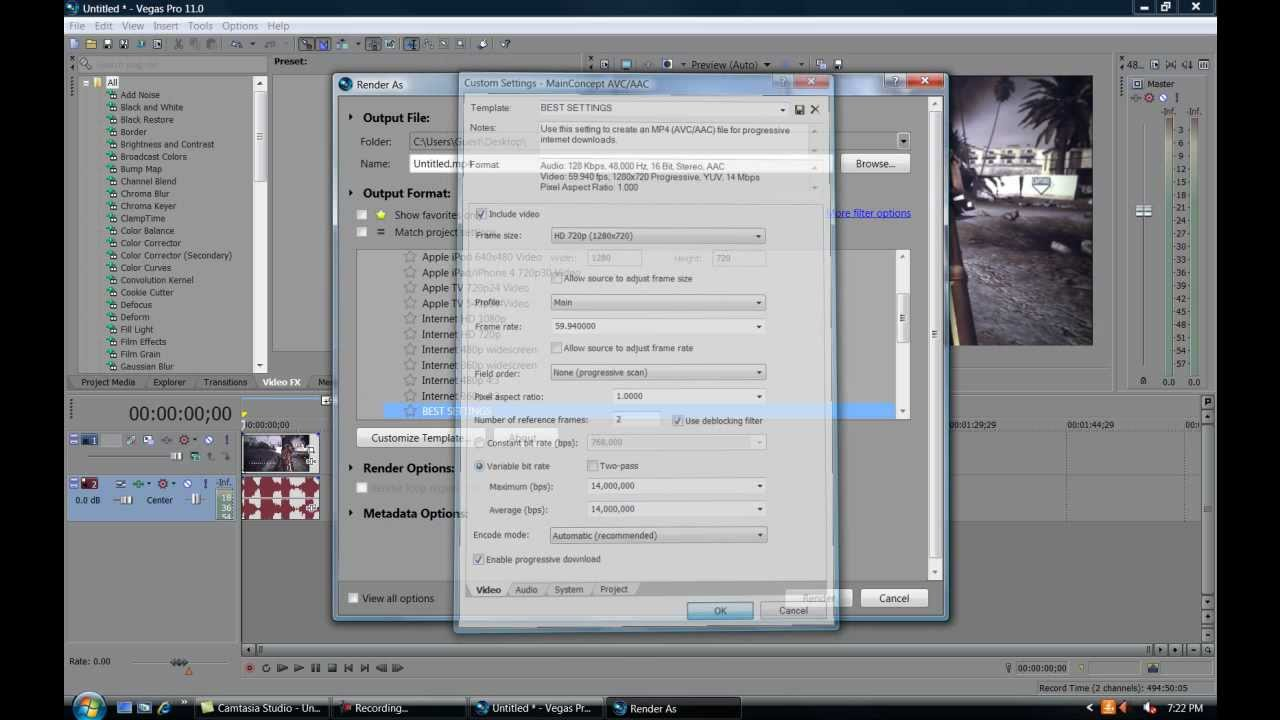how to get sony vegas back to default settings