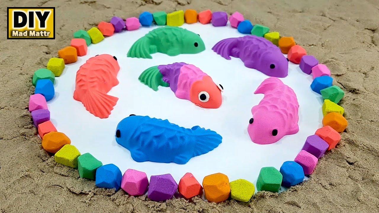 DIY - Koi pond fishing From Kinetic Sand, Mad Mattr, Slime (Satisfying Videos)