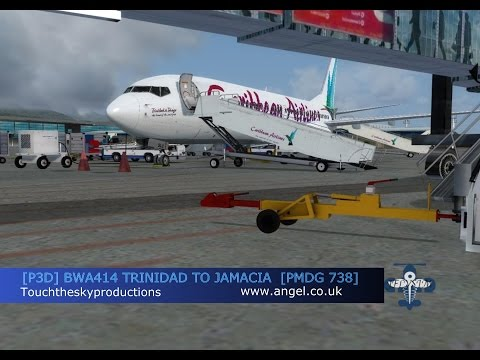 Prepar 3D BWA414 PMDG 738 Trinidad TTPP to Jamacia MKJP