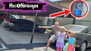 Tracking Dad's Stolen Car! Hello Neighbor's House Found! Tic Tac Toy XOXO Friends and Hugs Toys!