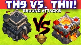 Th9 vs TH11 ground attacks | Pushing with ground troops in titan league | Clash of Clans