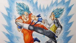 Drawing Goku VS Vegeta - Super Saiyan Blue