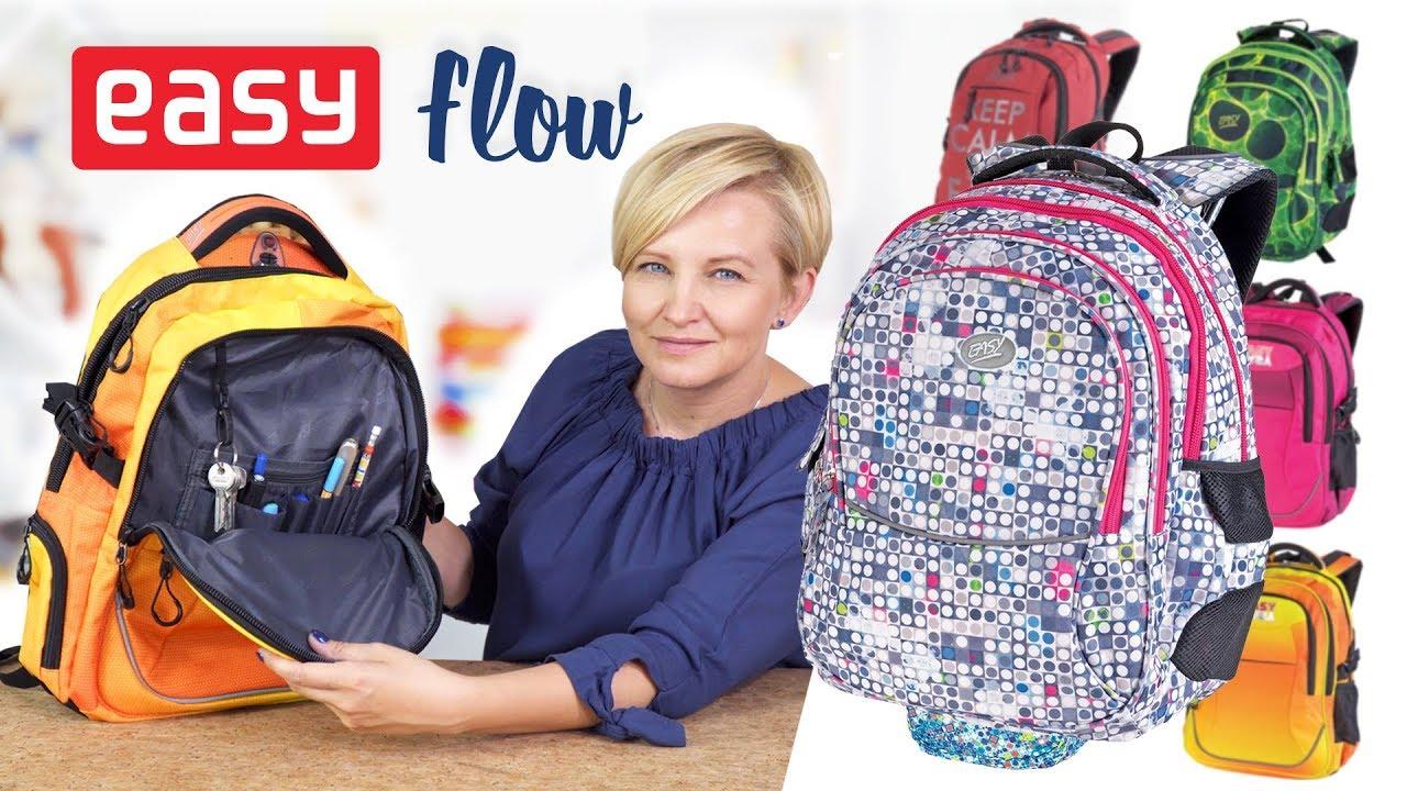 Zestawienie plecaków i piórników młodzieżowych EASY Flow