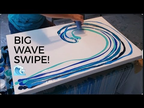 Big canvas Ocean wave! Acrylic pouring swipe, HUGE cells, fluid art, florida contemporary art modern