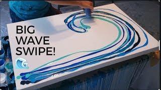 Big canvas Ocean wave! Acrylic pouring swipe, HUGE cells, fluid art, florida contemporary art modern